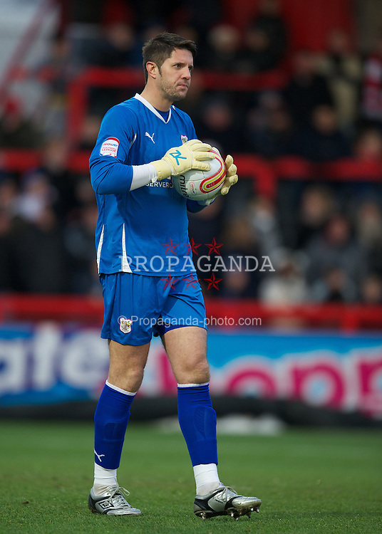 STEVENAGE, ENGLAND - Saturday, December 17, 2011: Stevenage's goalkeeper Chris Day in action against Tranmere Rovers during the Football League One match at Broadhall Way. (Pic by David Rawcliffe/Propaganda)
