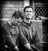 Javier Lopez is watching at some fan in the stand during annual Seatholder appreciation day, alongside Buster Posey (on the left).<br /> June 27th 2015.<br /> Credit : Glenn Gervot