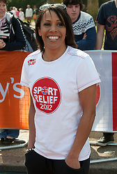 Dame Kelly Holmes taking part in a one mile run for Sport Relief charity in London, 25th March 2012.  Photo by: i-Images