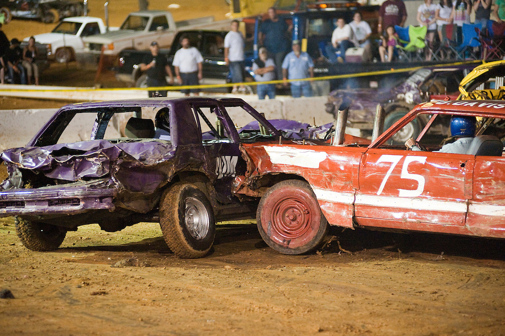 Vehicles collide at a Demolition Derby