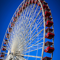 Photo of Navy Pier Ferris Wheel in Chicago. Navy Pier and the Ferris Wheel are one of the most popular attractions in downtown Chicago.