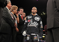 June 5, 2010; Bronx, NY; USA;  Miguel Cotto and Yuri Foreman meet in a 12 round bout for Foreman's WBA Super Welterweight Championship at Yankee Stadium.  Cotto won via 9th round TKO.