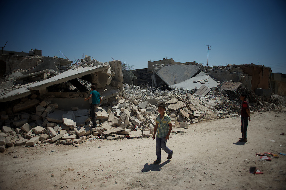 August 11, 2012 - Tarafat, Aleppo, Syria: View of a destroyed residential area in Tarafat village, near Aleppo. The Syrian Army warplanes have recently bombed residential areas and the only two schools in the village, with 200 kilogram bombs. (Paulo Nunes dos Santos/Polaris)