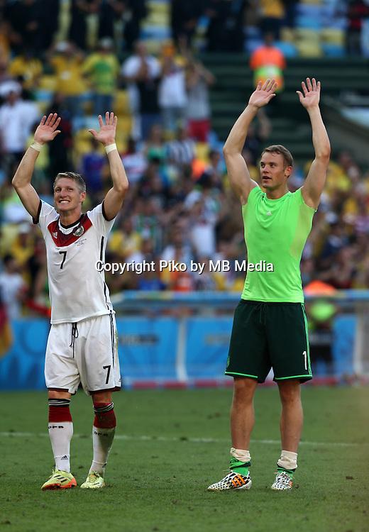Fifa Soccer World Cup - Brazil 2014 - <br /> FRANCE (FRA) Vs. GERMANY (GER) - Quarter-finals - Estadio do Maracana Rio De Janeiro -- Brazil (BRA) - 04 July 2014 <br /> Here German players Bastian SCHWEINSTEIGER (L) and GK Manuel NEUER (R)celebrating the victory. End of the match 0-1. <br /> &copy; PikoPress