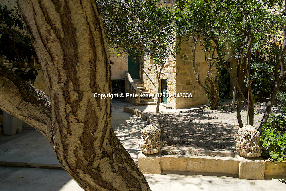 Courtyard to cafe in Mdina Rabat,<br />Malta, Europe.<br />Summer 2016.