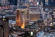 Aerial view of Venetian Hotel on the Strip, Las Vegas, Nevada, USA