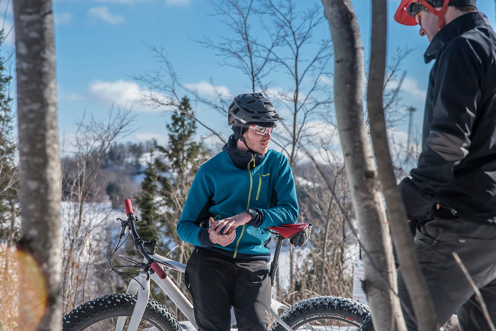 Fat biking in Marquette, Michigan.