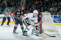 KELOWNA, CANADA - MARCH 5: Ryan Rehill #24 of Kamloops Blazers back checks Rourke Chartier #14 of Kelowna Rockets on March 5, 2016 at Prospera Place in Kelowna, British Columbia, Canada.  (Photo by Marissa Baecker/Shoot the Breeze)  *** Local Caption *** Ryan Rehill; Rourke Chartier;