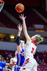 NORMAL, IL - January 03: Mary Crompton offers a layup with Alyssa Robben defending during a college women's basketball game between the ISU Redbirds and the Sycamores of Indiana State January 03 2020 at Redbird Arena in Normal, IL. (Photo by Alan Look)