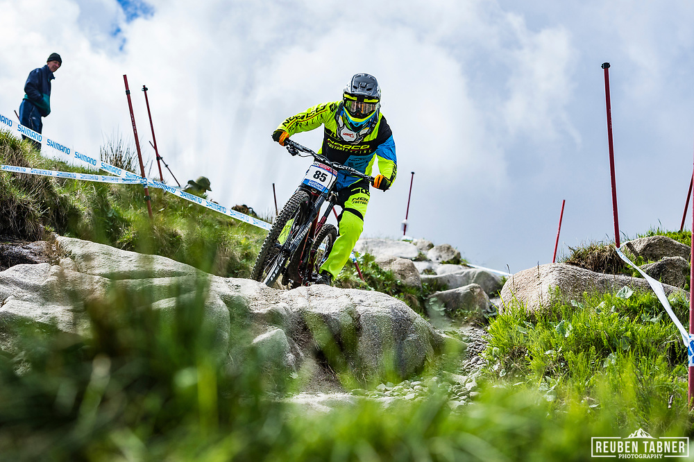Joseph Smith during Sunday practise at the UCI Mountain Bike World Cup in Fort William.