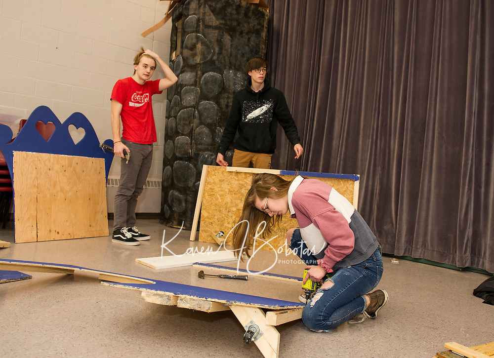 """Belmont High School """"Tech Day"""" for Once Upon a Mattress.  Karen Bobotas for the Laconia Daily Sun"""