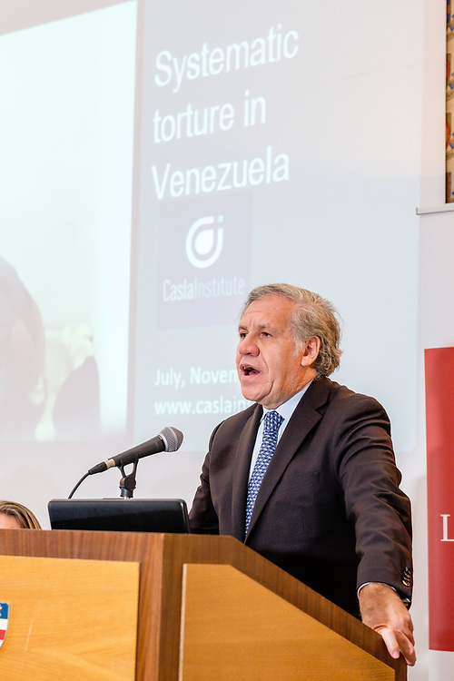 In the wake of the ongoing crisis in Venezuela, the humanitarian situation in the country continues to deteriorate. A UN Report published in July details human rights violations including extrajudicial killings, human trafficking, torture, food scarcity and severe medicine shortages.<br /> <br /> In light of this report, Canning House and the All-Party Parliamentary Group (APPG) for Venezuela have invited Luis Almagro, Secretary General of the Organisation of American States (OAS) to speak with Dra. Tamara Sujú, a human rights lawyer, about what the international community might do to ameliorate the situation.<br /> <br /> The discussion will be chaired by Baroness Hooper and Beatriz Araujo.<br /> London, 5th November, 2019 (Photos/Ivan Gonzalez)