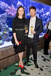 SOPHIE ELLIS-BEXTOR and RICHARD JONES at a dinner hosted by Creme de la Mer to celebrate the launch of Genaissance de la Mer The Serum Essence held at Sexy Fish, Berkeley Square, London on 21st January 2016.