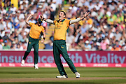 Matthew Carter of Notts Outlaws celebrates the wicket of Moeen Ali during the Vitality T20 Finals Day 2019 match between Notts Outlaws and Worcestershire Rapids at Edgbaston, Birmingham, United Kingdom on 21 September 2019.