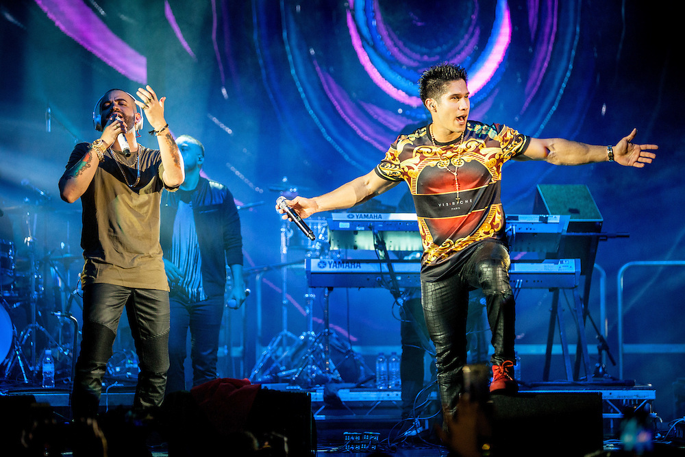 Latin Music Productions present: Chino & Nacho. Chino & Nacho are a Venezuelan duo of tropical music reggaeton and Latin pop. Composed of Chino (Jesus Alberto Miranda Perez) and Nacho (Miguel Ignacio Mendoza Donatti). They are Latin Grammy winners as well as several other international awards. London, 5th October, 2016. (Photos/Ivan Gonzalez)