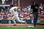 San Francisco Giants second baseman Joe Panik (12) takes second base against the St. Louis Cardinals at AT&T Park in San Francisco, California, on September 3, 2017. (Stan Olszewski/Special to S.F. Examiner)