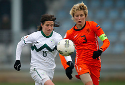 Mateja Zver of Slovenia vs Daphne Koster of Netherlands during the football match between Women national teams of Slovenia and Netherlands in 4th Round of EURO 2013 Qualifications, on November 19, 2011 in Ivancna Gorica, Slovenia. Netherlands defeated Slovenia 2-0. (Photo By Vid Ponikvar / Sportida.com)
