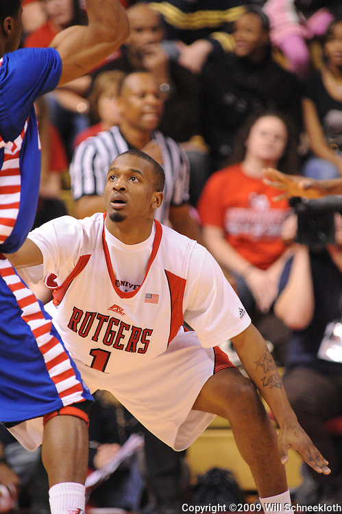 Jan 31, 2009; Piscataway, NJ, USA; Rutgers guard Corey Chandler (1) defends during the first half of Rutgers' 75-56 victory over DePaul in NCAA college basketball at the Louis Brown Athletic Center.