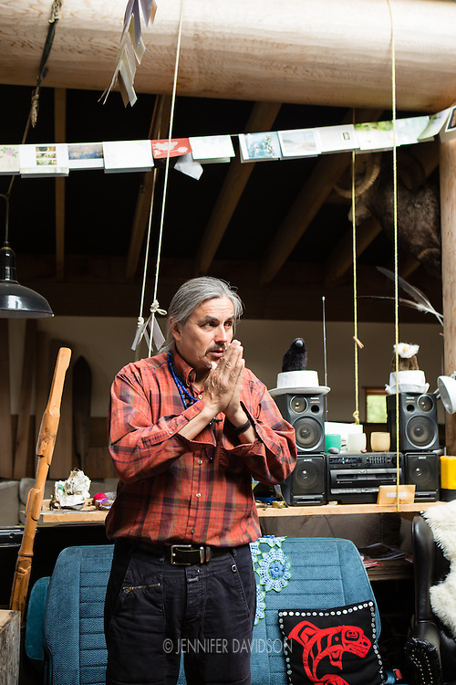 World-renowned Haida artist Jim Hart in his home/studio in Old Masset, Haida Gwaii.