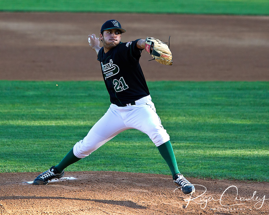 Starting pitcher Casey Delgado pitched seven innings of two run ball as he paced the Vermont Mountaineers to an 8-3 victory over the Sanford Mainers in New England Collegiate Baseball League (NECBL) action on Thursday night at Montpelier Recreation Field.