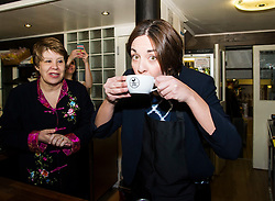 Pictured: Kezia Dugdale and Lesley Hinds  Labour Party candidate for Northern and Leith<br /> <br /> Scottish Labour leader Kezia Dugdale met some of her supporters inside the Case Amiga cafe in Edinburgh today before they began canvassing for the day. She was joined by Lesley Hinds,  Labour Party candidate for Northern and Leith.<br /> <br /> Ger Harley | EEm 6 April 2016