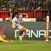 Eagle Maka Unufe scores a second half try in the USA's 29-5 victory over Australia in Day 1 of the Canada Sevens, BC Place Stadium, Vancouver, Canada.  Photo by Barry Markowitz, 3/11/17
