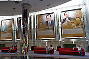 Siam Paragon shopping center. Portraits of his majesty, King Bhumipol Adulyadej.