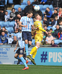 MARK BEEVERS MILLWALL, AARON MARTIN COVENTRY CITY HOLDS OF MILLWALLS AIDAN O'BRIEN, Coventry City v Millwall Sky Bet League One, Ricoh Arena, Saturday 16th April 2016<br /> Score 2-1
