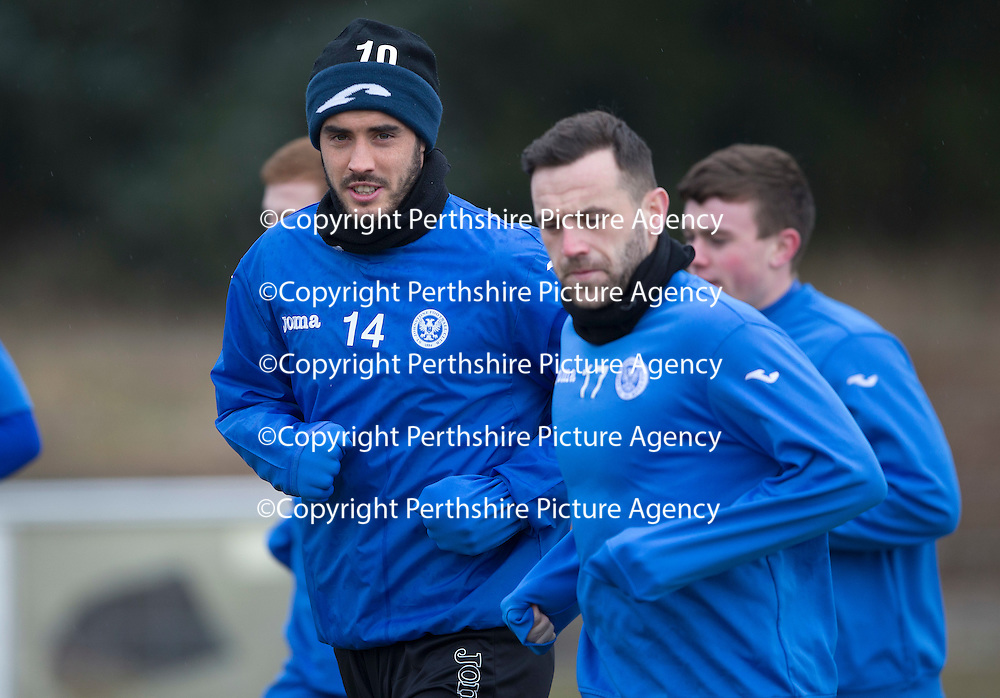 St Johnstone Training....13.02.15<br /> Brian Graham pictured during training this morning with James McFadden at McDiarmid Park ahead of tomorrow's game against Celtic<br /> Picture by Graeme Hart.<br /> Copyright Perthshire Picture Agency<br /> Tel: 01738 623350  Mobile: 07990 594431