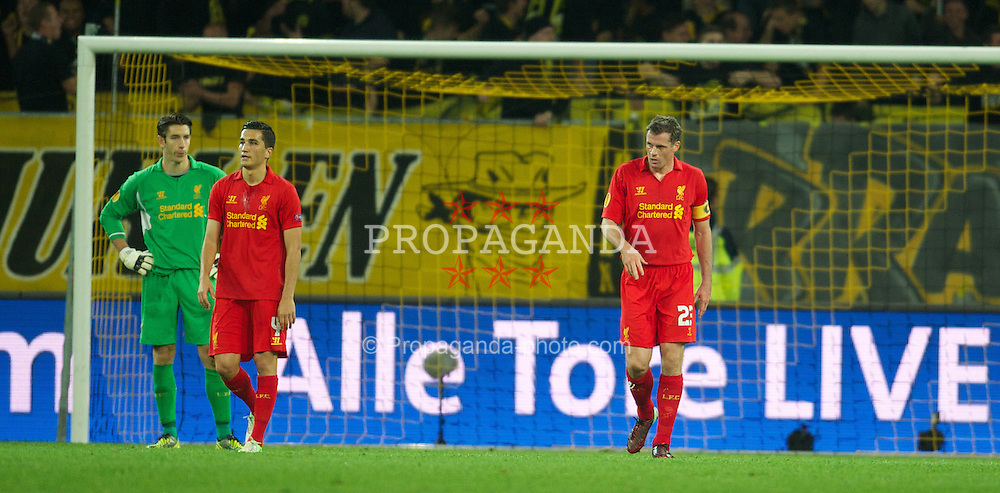 BERNE, SWITZERLAND - Thursday, September 20, 2012: Liverpool's captain Jamie Carragher looks dejected as BSC Young Boys score the third goal during the UEFA Europa League Group A match at the Wankdorf Stadion. (Pic by David Rawcliffe/Propaganda)