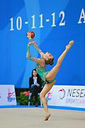Gamalejeva Jelizaveta during qualifying at ball in Pesaro World Cup 10 April 2015. Jelizaveta is a Latvian rhythmic gymnastics athlete born on March 22, 1994 in Riga.
