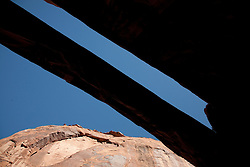 North America, United States, Utah, Arches National Park, Landscape Arch,  Devils Garden Trail.  300 feet long and only 11 feet wide in sections.