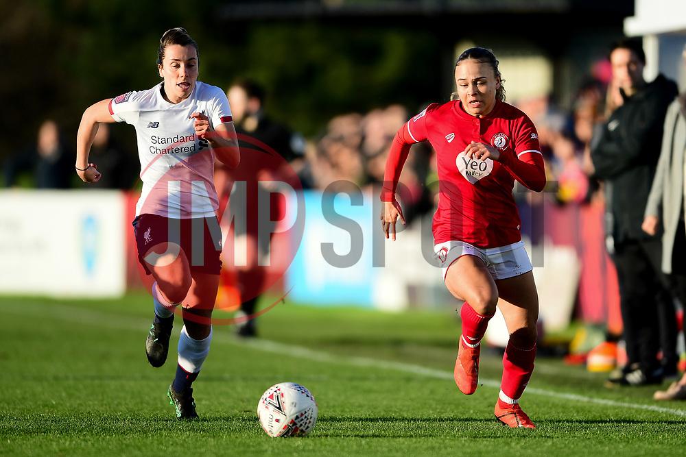 Ebony Salmon of Bristol City makes a break - Mandatory by-line: Ryan Hiscott/JMP - 19/01/2020 - FOOTBALL - Stoke Gifford Stadium - Bristol, England - Bristol City Women v Liverpool Women - Barclays FA Women's Super League