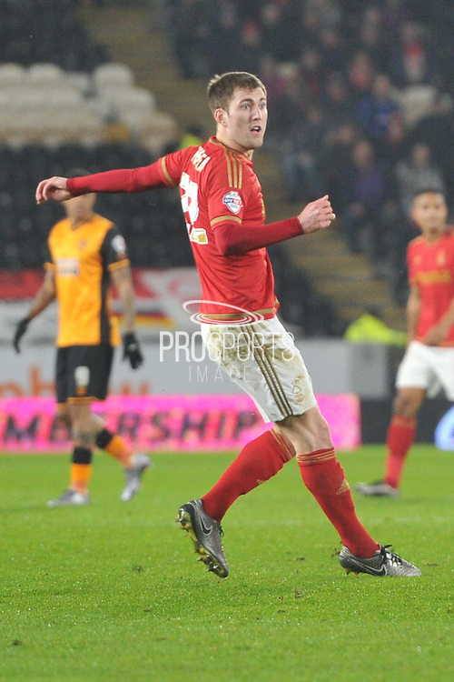 Gary Gardner(22) of Nottingham Forest scores to go 1-0 up during the Sky Bet Championship match between Hull City and Nottingham Forest at the KC Stadium, Kingston upon Hull, England on 15 March 2016. Photo by Ian Lyall.