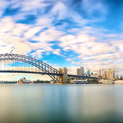 A shot of Sydney Harbour Bridge and the Opera House taken from North Sydney.