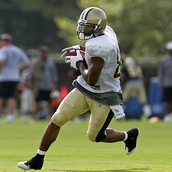 01 August 2009: New Orleans Saints wide receiver Paris Warren (82) runs after a catch during New Orleans Saints training camp at the team's practice facility in Metairie, Louisiana.