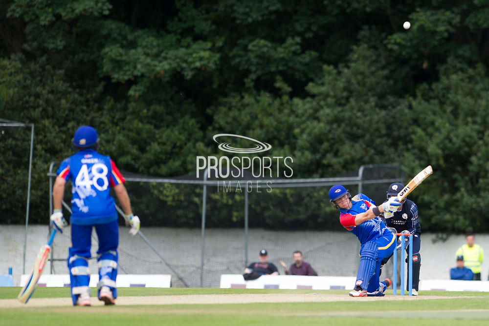 Namibia's MG Erasmus hits a four during the World Cricket League match between scotland and Namibia at Grange Cricket Club, Edinburgh, Scotland on 13 June 2017. Photo by Kevin Murray.