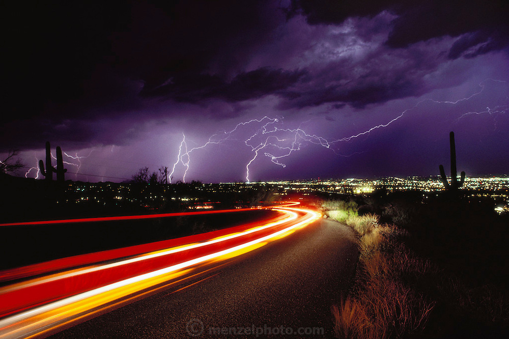 Arizona. Lightning. Time exposure image of lightning strikes over Tucson, Arizona, USA..The silhouette of a giant saguaro cactus (Carnegiea gigantea) is in the foreground at right and left. Car tail light trails are also seen in the foreground. Lightning occurs when a large electrical charge builds up in a cloud, probably due to the friction of water and ice particles. The charge induces an opposite charge on the ground, and a few leader electrons travel to the ground. When one makes contact, there is a huge backflow of energy up the path of the electron. This produces a bright flash of light, and temperatures of up to 30,000 degrees Celsius. Photographed in Tucson, Arizona, USA. .