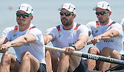 Varese. ITALY. GER M4-, right to left. Johannes, WIMBERGER, Felix, PLANER, Maximilian, KORGE, Maximilian.   2015 FISA World Cup II Venue Lake Varese. Friday  19/06/2015 [Mandatory Credit: Peter Spurrier/Intersport images] .   Empacher.