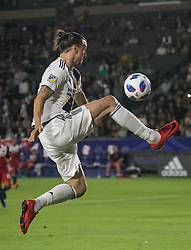 May 30, 2018 - Carson, California, U.S - Zlatan Ibrahimovic #9 of the LA Galaxy gets a pass during their MLS game against FC Dallas on Wednesday, May 30, 2018 at the Stub Hub Center in Carson, California. LA Galaxy Lose to FC Dallas, 2-3. (Credit Image: © Prensa Internacional via ZUMA Wire)