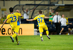 21.07.2016, Sports Park, Domzale, SLO, UEFA EL, NK Domzale vs Shakhtar Donetsk, Qualifikation, 2. Runde, Rueckspiel, im Bild Mario Lucas Horvat of NK Domzale and Zan Majer of NK Domzale celebrate after Zan Majer of NK Domzale scored second goal for Domzale // during the UEFA Europaleague Qualifier 2nd round, 2nd leg match between Grasshopper Club and KR Reykjavik at the Sports Park in Domzale, Slovenia on 2016/07/21. EXPA Pictures © 2016, PhotoCredit: EXPA/ Sportida/ Vid Ponikvar<br /> <br /> *****ATTENTION - OUT of SLO, FRA*****