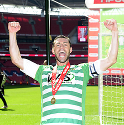 Yeovil Town's Jamie McAllister celebrates winning the League One Play Off Final  - Photo mandatory by-line: Joe Meredith/JMP - Tel: Mobile: 07966 386802 19/05/2013 - SPORT - FOOTBALL - LEAGUE 1 - PLAY OFF - FINAL - Wembley Stadium - London - Brentford V Yeovil Town
