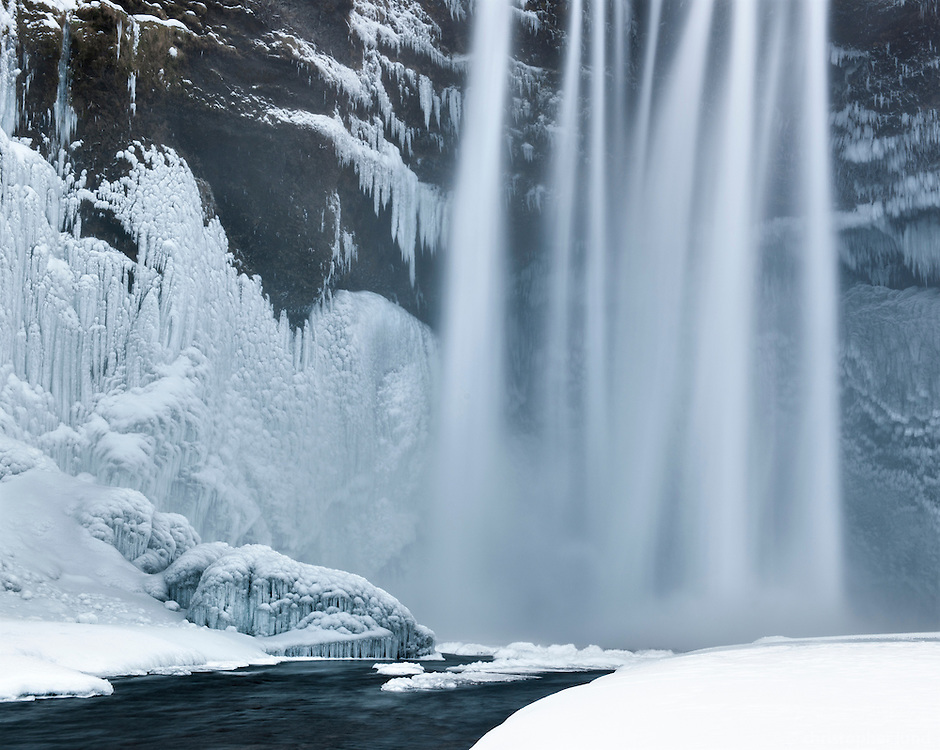 Skógafoss waterfall in winter, South Iceland.