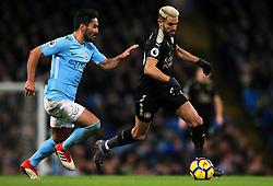 Riyad Mahrez of Leicester City takes on Ilkay Gundogan of Manchester City - Mandatory by-line: Matt McNulty/JMP - 10/02/2018 - FOOTBALL - Etihad Stadium - Manchester, England - Manchester City v Leicester City - Premier League