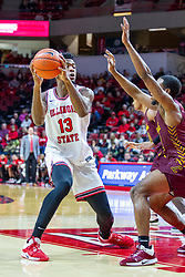 NORMAL, IL - January 19: Rey Idowu double teamed just inside the free throw line during a college basketball game between the ISU Redbirds and the Loyola University Chicago Ramblers on January 19 2020 at Redbird Arena in Normal, IL. (Photo by Alan Look)