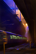 Railway Stations at night. About 9:30. Inbound train leaves Macaulay railway station under heavey fog. The station is built under the CityLink Tollway. Pic By Craig Sillitoe CSZ/The Sunday Age/The Age iPad App.28/06/2011 This photograph can be used for non commercial uses with attribution. Credit: Craig Sillitoe Photography / http://www.csillitoe.com<br />