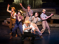 """(center) Tom Sawyer (John Masse) and Huckleberry Finn (Ben Kace) surrounded by the gang Teghan Kelly, Heather Hunt, Cameron Ouellette and Calista Mitchell during dress rehearsal for the production of """"Big River"""" by the Winnipesaukee Playhouse at Inter Lakes High School's auditorium.  (Karen Bobotas/for the Laconia Daily Sun)"""