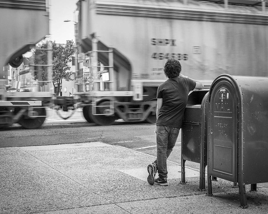 Railfan, Interlude, Train, Watch, Street, Hackensack, NJ, New Jersey, Boy, Lean