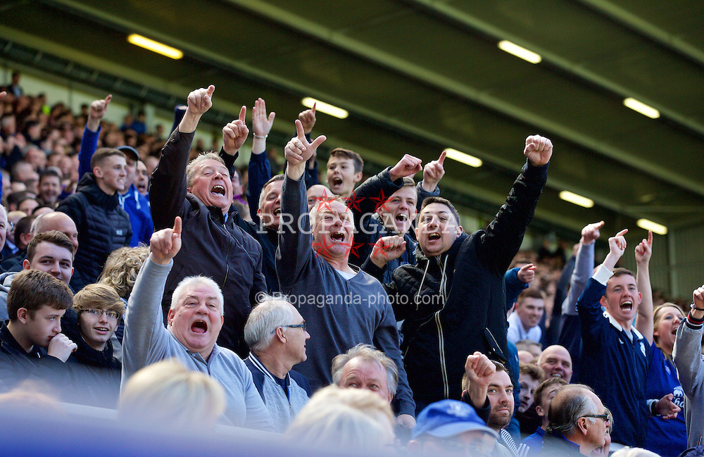 LIVERPOOL, ENGLAND - Sunday, April 26, 2015: Everton supporters celebrate their side's 3-0 victory over Manchester United during the Premier League match at Goodison Park. (Pic by David Rawcliffe/Propaganda)
