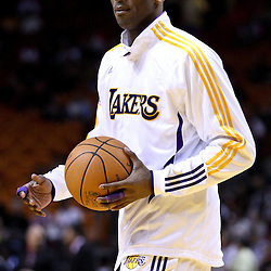 March 10, 2011; Miami, FL, USA; Los Angeles Lakers shooting guard Kobe Bryant (24) during warm ups before a game against the Miami Heat at the American Airlines Arena.  Mandatory Credit: Derick E. Hingle